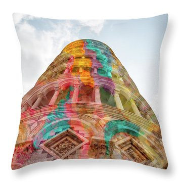 Throw Pillow featuring the mixed media Colourful Leaning Tower Of Pisa by Clare Bambers
