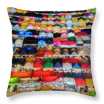 Throw Pillow featuring the photograph Colourful Night Market by Pradeep Raja Prints
