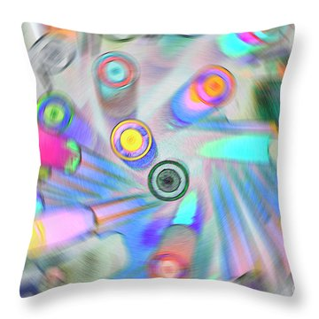 Throw Pillow featuring the digital art Colourful Pens by Wendy Wilton