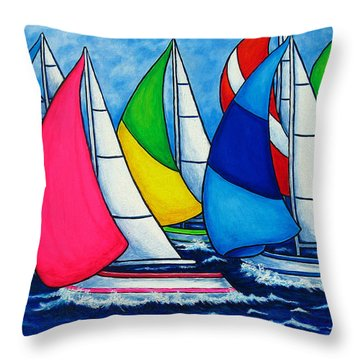 Colourful Regatta Throw Pillow