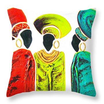 Colourful Trio - Original Artwork Throw Pillow