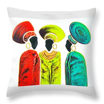 Colourful Trio - Original Artwork Throw Pillow