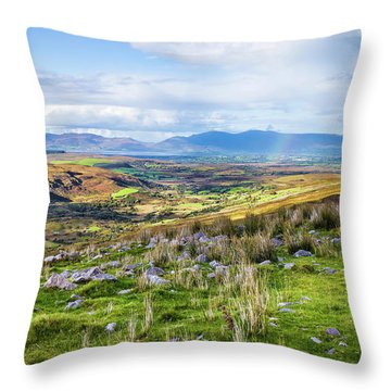 Throw Pillow featuring the photograph Colourful Undulating Irish Landscape In Kerry  by Semmick Photo