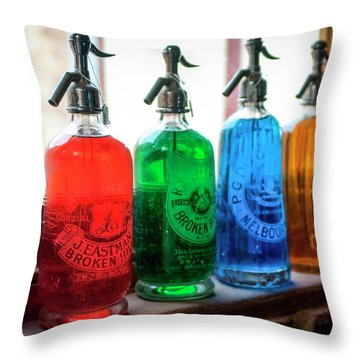 Colourful Vintage Bottles Throw Pillow by Lana Enderle