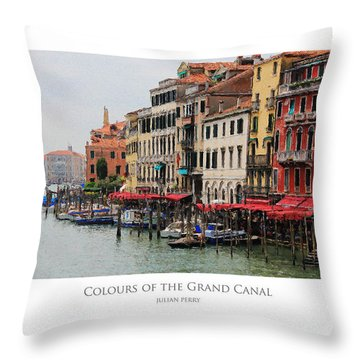 Throw Pillow featuring the digital art Colours Of The Grand Canal by Julian Perry