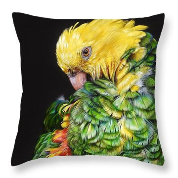 Throw Pillow featuring the drawing Colours Of The Jungle - Yellow-headed Amazon by Elena Kolotusha
