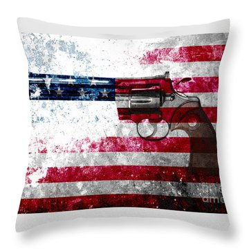 Colt Python 357 Mag On American Flag Throw Pillow