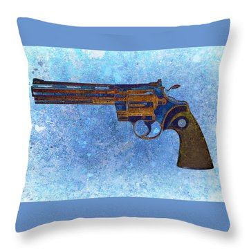 Colt Python 357 Mag On Blue Background. Throw Pillow