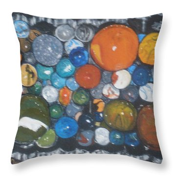 Throw Pillow featuring the painting Coltons Marbles by Betty-Anne McDonald
