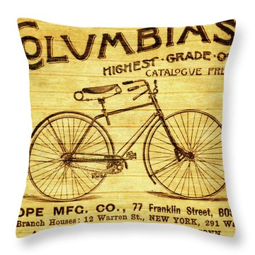 Throw Pillow featuring the mixed media Columbia Bicycle Vintage Poster On Wood by Dan Sproul