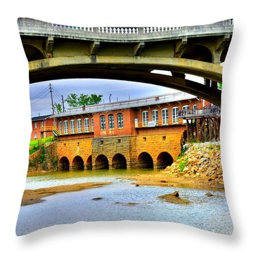 Columbia Canal At Gervais Street Bridge Throw Pillow