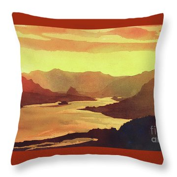 Throw Pillow featuring the painting Columbia Gorge Scenery by Ryan Fox