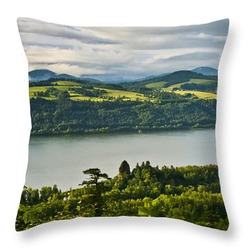 Columbia Gorge Scenic Area Throw Pillow by Albert Seger