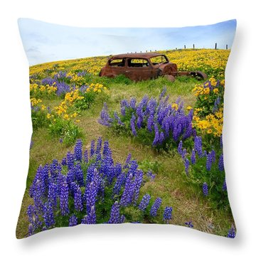 Columbia Hills Wildflowers Throw Pillow