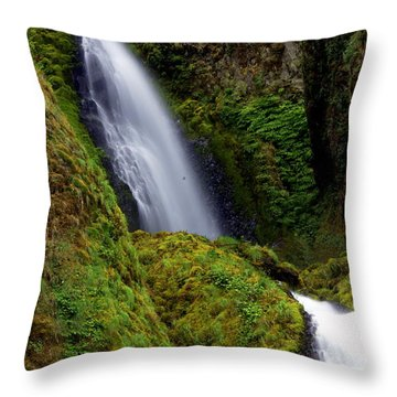 Columbia River Gorge Falls 1 Throw Pillow by Marty Koch