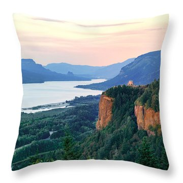 Columbia River With Vista House Throw Pillow