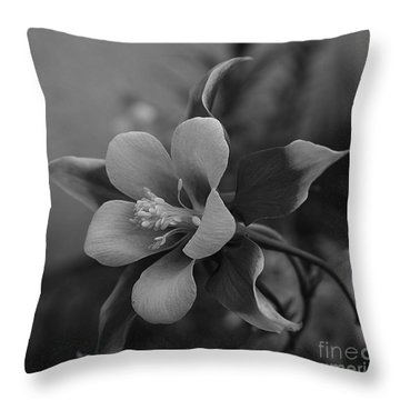 Columbine  Bw Throw Pillow
