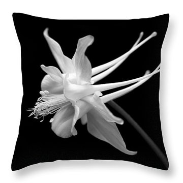 Columbine Flower Portrait Black And White Throw Pillow by Jennie Marie Schell