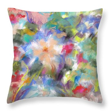 Throw Pillow featuring the painting Columbine In The Wildflowers by Frances Marino