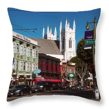 Columbus And Stockton In North Beach Throw Pillow
