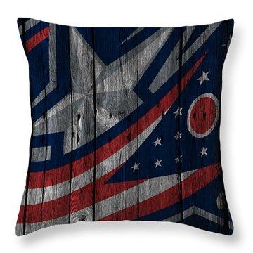 Columbus Blue Jackets Wood Fence Throw Pillow