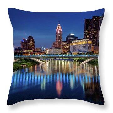 Columbus Ohio Skyline At Night Throw Pillow