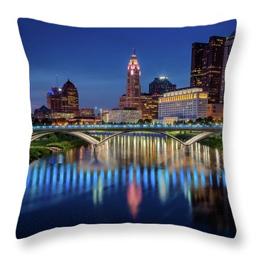 Throw Pillow featuring the photograph Columbus Ohio Skyline At Night by Adam Romanowicz