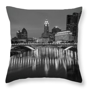 Throw Pillow featuring the photograph Columbus Ohio Skyline At Night Black And White by Adam Romanowicz