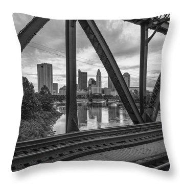 Columbus Train Tracks  Throw Pillow