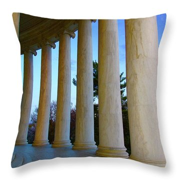 Columns At Jefferson Throw Pillow by Megan Cohen