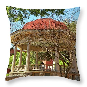 Comal County Gazebo In Main Plaza Throw Pillow by Judy Vincent
