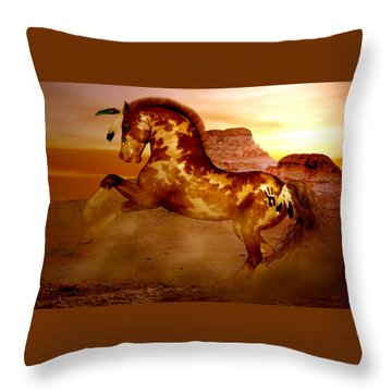 Comanche Throw Pillow by Valerie Anne Kelly