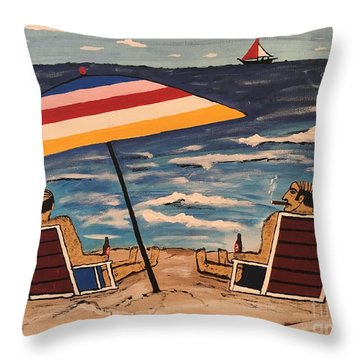 Comb Over Brothers Throw Pillow