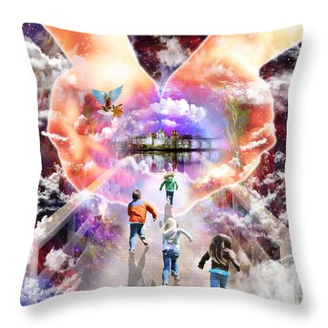 Come As A Child Throw Pillow by Dolores Develde