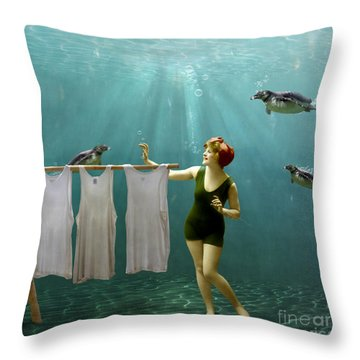 Come On Darlings It's Almost Dry Throw Pillow by Martine Roch