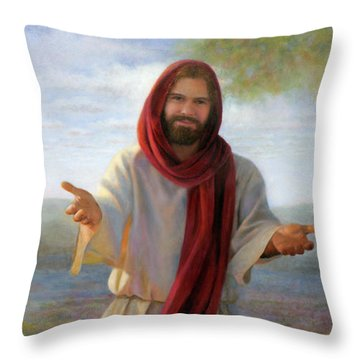 Throw Pillow featuring the painting Come Unto Me Full-length by Nancy Lee Moran
