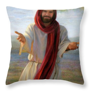 Throw Pillow featuring the painting Come Unto Me by Nancy Lee Moran