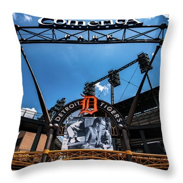 Throw Pillow featuring the photograph Comerica Park by Onyonet  Photo Studios