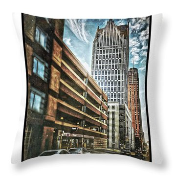 Comerica Tower Throw Pillow by Donald Yenson