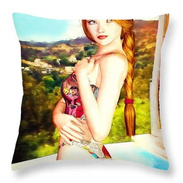 Comic Book Swimsuit Pinup In The Hollywood Hills Throw Pillow