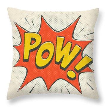 Comic Pow On Off White Throw Pillow