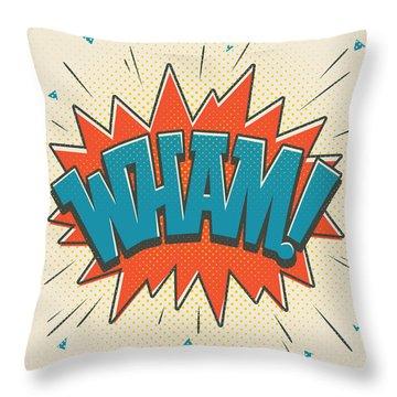 Comic Wham On White Throw Pillow