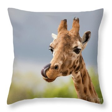 Comical Giraffe With His Tongue Out.  Throw Pillow