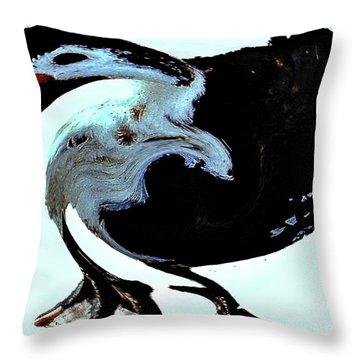 Throw Pillow featuring the digital art Comical Psychedelic Duck by Merton Allen