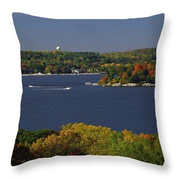 Coming And Going - Lake Geneva Wisconsin Throw Pillow