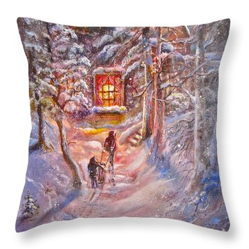 Coming Home Throw Pillow by Patricia Schneider Mitchell