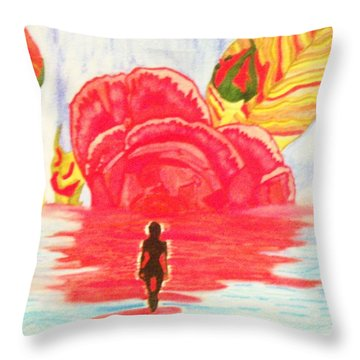Throw Pillow featuring the painting Coming Out Of One World Into Another by Connie Valasco