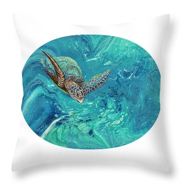 Throw Pillow featuring the painting Coming Out Of The Depths by Darice Machel McGuire