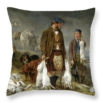 Coming Out Of The Mist. Hare Shooting In Glen Spean Throw Pillow