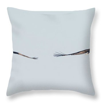 Throw Pillow featuring the photograph Coming Right At You - Two Bald Eagles by Ricky L Jones